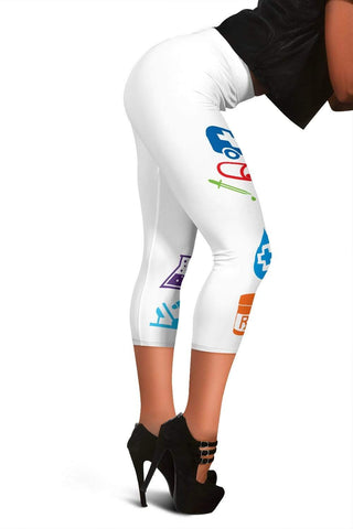 Nurse Capris Leggings - Pattens White