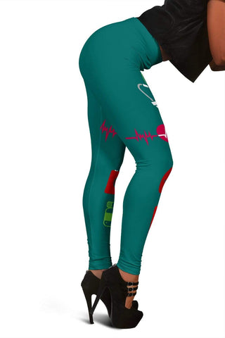Image of Nurse Full Length Leggings - Blue Lagoon