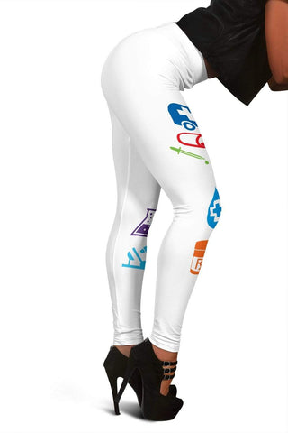 Image of Nurse Full Length Leggings - Pattens White