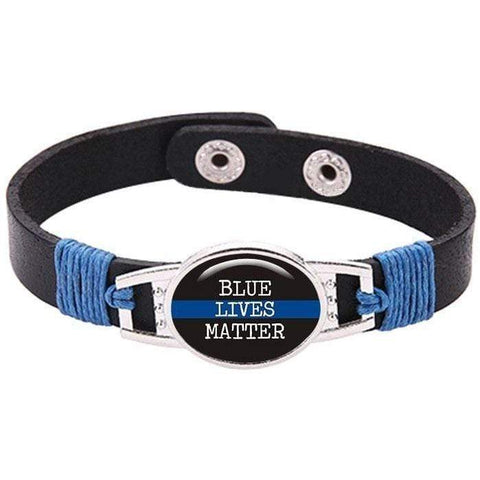 Image of Adjustable Black Leather Snap Button Blue Police Lives Matter Thin Blue Line Bracelet