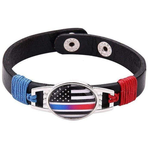 Image of Thin Blue Red Line Police Fire Fighter US American Flag Bracelet Adjustable Leather Wristband