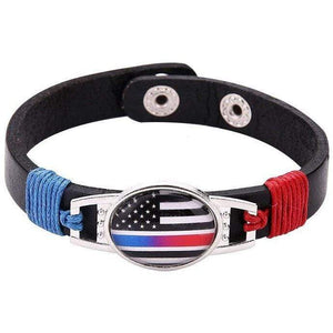 Thin Blue Red Line Police Fire Fighter US American Flag Bracelet Adjustable Leather Wristband