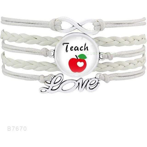 Image of Teacher sayings Infinity Love Glass Cabochon Charm Bracelets
