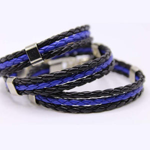 Proud Supporter - Thin Blue Line Leather Bracelet w/ Stainless Steel Clasp