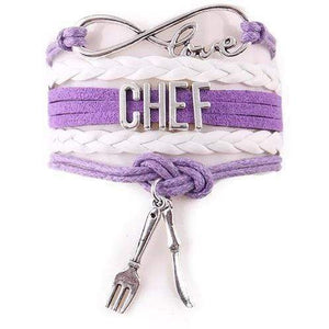 I Love my Chef Leather Infinity Bracelet with Knife and Fork Charms