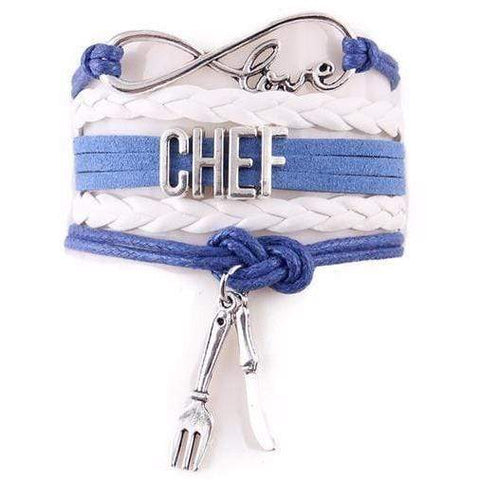 Image of I Love my Chef Leather Infinity Bracelet with Knife and Fork Charms