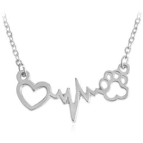 Image of Thin Chains Necklaces Heartbeat Dog Cat Paw Print Pendant Necklace