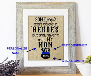 Police Family - Personalized Burlap Gift - Handmade - You Personalize with Badge #, Police Department Initials & Name!