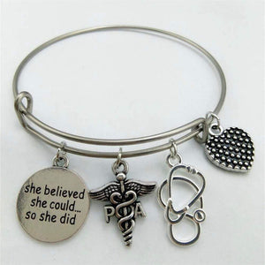Silver Plated Nurse Bracelets Bangle With Medical Nurse Doctor Stethoscope
