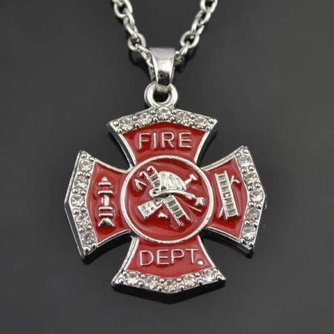 Image of Firefighter Red Enamel Cross Pendant Fire Dept Necklace