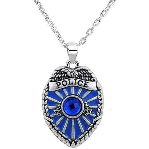Image of Antique Silver Plated Police Badge Pendant Blue Crystal & Enamel Silver Chain Fashion Necklace
