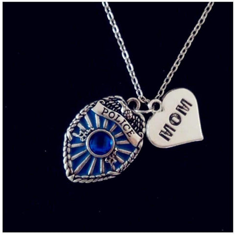 Antique Style Proud Police Mom, Sister and Daughter Necklace