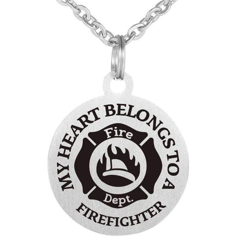 Image of MY HEART BELONGS TO A FIREFIGHTER Necklace 316L Stainless Steel