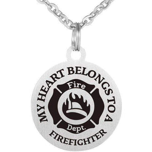 MY HEART BELONGS TO A FIREFIGHTER Necklace 316L Stainless Steel