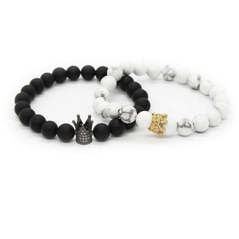 Image of Couple His And Hers Bracelets Distance Black Matte & White Beads