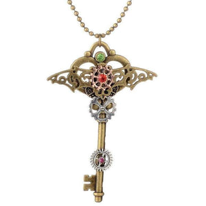 Steampunk Gear Key Pendant Fashion Necklace In Bronze Ox Color