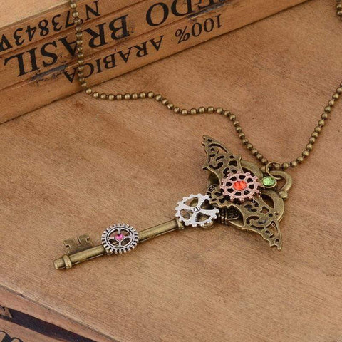 Image of Steampunk Gear Key Pendant Fashion Necklace In Bronze Ox Color