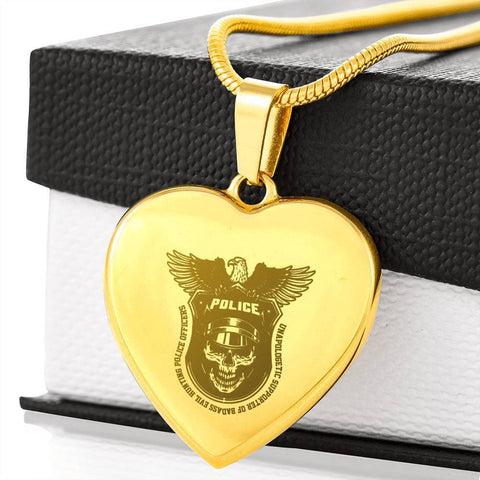 18k Gold Plated Best Kind of Mom Raises a Police Heart Engraving Necklace