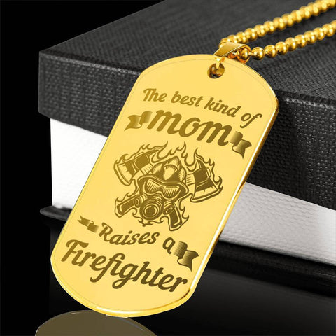 Image of Best Kind of Mom Raises a Firefighter Dog Tag Necklace