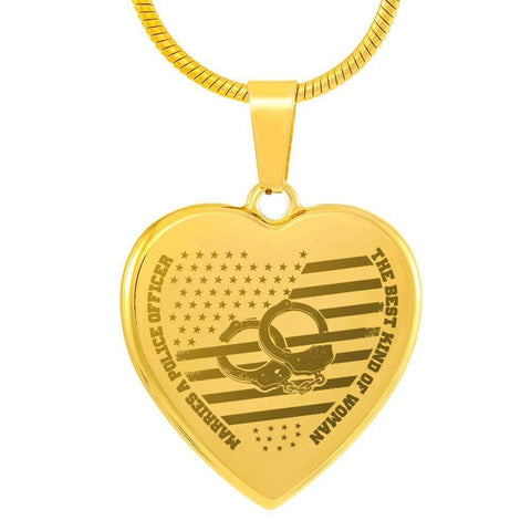 Best Kind of Mom Raises a Police Heart Engraving 18k Gold Plated Necklace