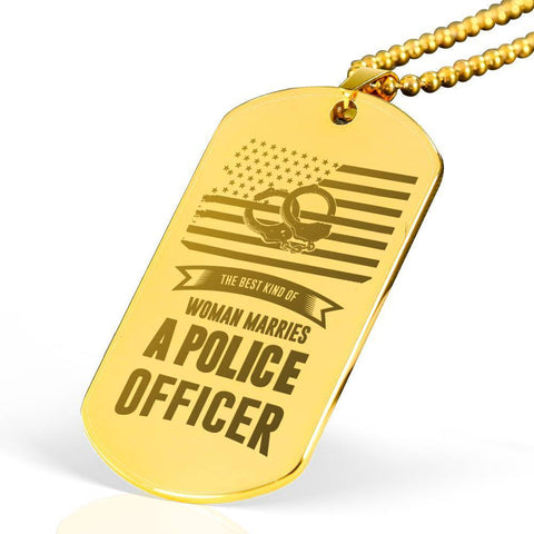 Best Kind of Mom Raises a Police Engraved Dog Tag 18k Gold Plated Necklace
