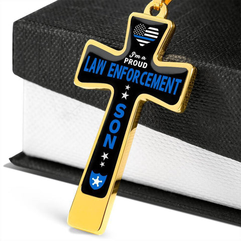 I'm a Proud Law Enforcement - Military Ball Chain Police Son Cross