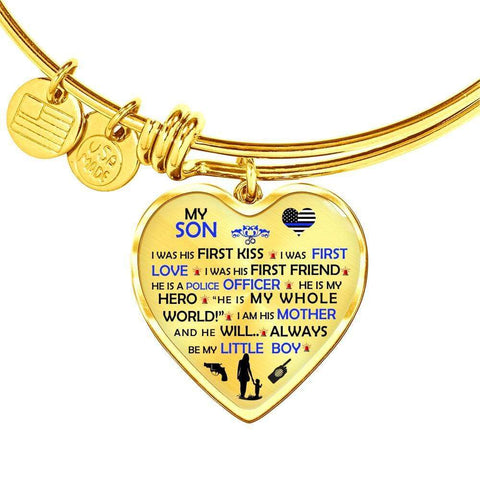 My Son is a Police Officer - Adjustable Luxury Heart Bangle Bracelet