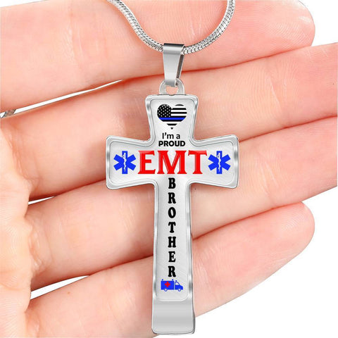 I'm a Proud EMT Brother Cross - Light Luxury Necklace