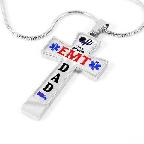 Image of I'm a Proud EMT Dad Cross - Light Luxury Necklace