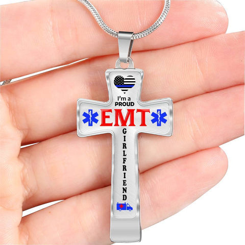 Image of I'm a Proud EMT Girlfriend Cross - Light Luxury Necklace
