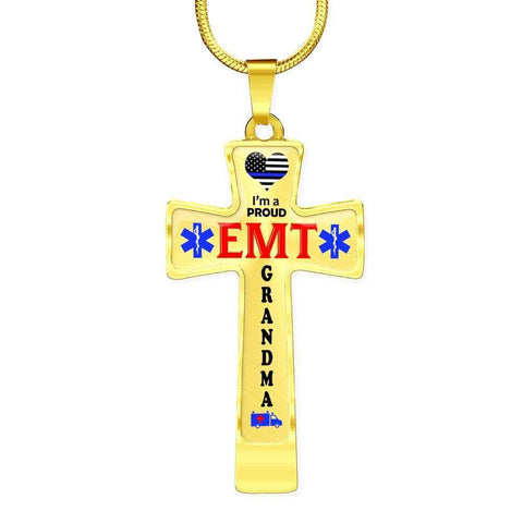 Image of I'm a Proud EMT Grandma Cross - Light Luxury Necklace