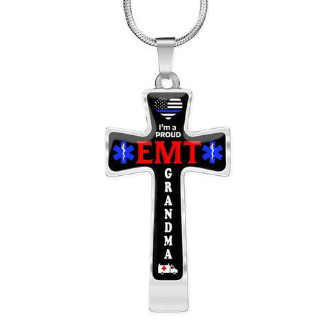 Image of I'm a Proud EMT Grandma Cross - Luxury Necklace