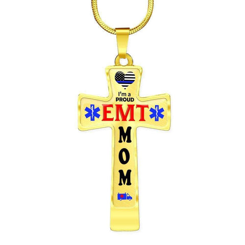 I'm a Proud EMT Mom Cross - Light Luxury Necklace