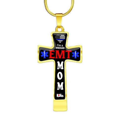 I'm a Proud EMT Mom Cross - Luxury Necklace