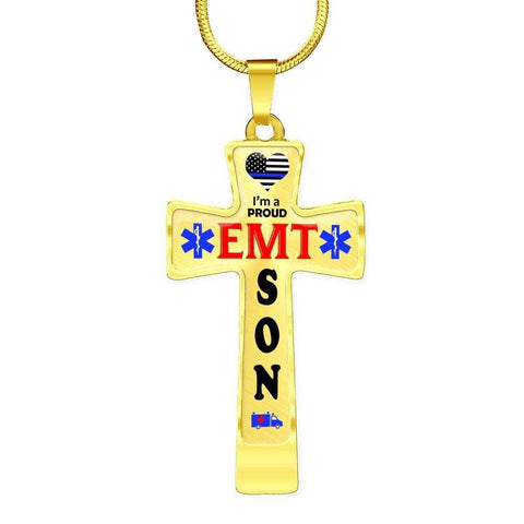 Image of I'm a Proud EMT Son Cross - Light Luxury Necklace