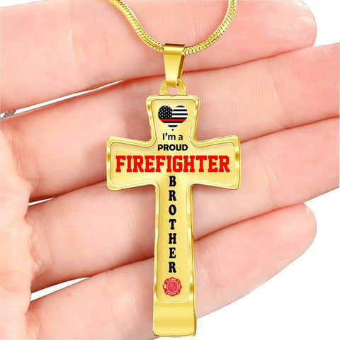 Image of I'm a Proud Firefighter Brother Cross - Light Luxury Necklace