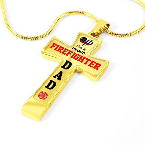 Image of I'm a Proud Firefighter Dad Cross - Light Luxury Necklace