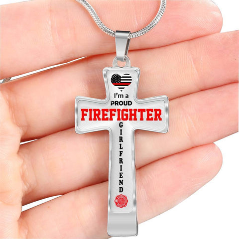 I'm a Proud Firefighter Girlfriend Cross - Light Luxury Necklace