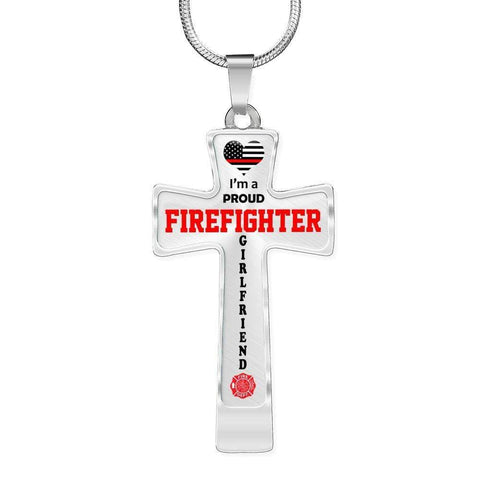 Image of I'm a Proud Firefighter Girlfriend Cross - Light Luxury Necklace