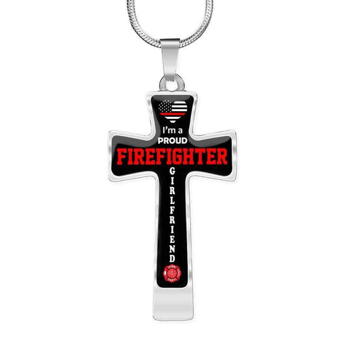 Image of I'm a Proud Firefighter Girlfriend Cross - Luxury Necklace