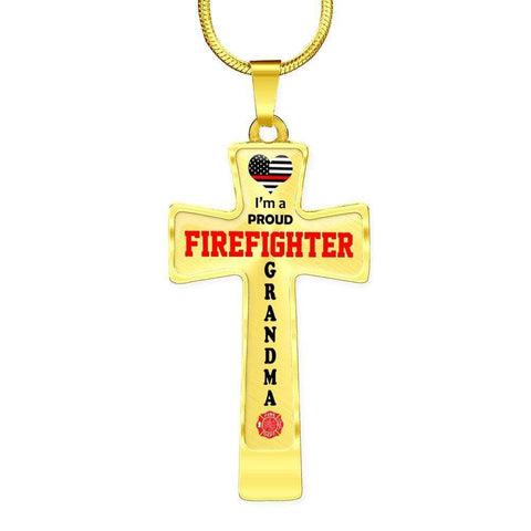 I'm a Proud Firefighter Grandma Cross - Light Luxury Necklace
