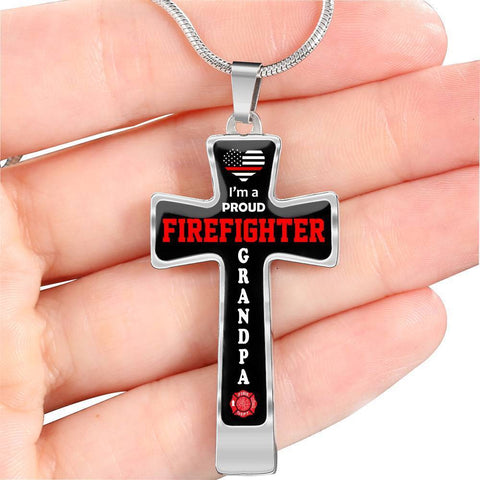 Image of I'm a Proud Firefighter Grandpa Cross - Luxury Necklace