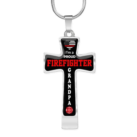 I'm a Proud Firefighter Grandpa Cross - Luxury Necklace