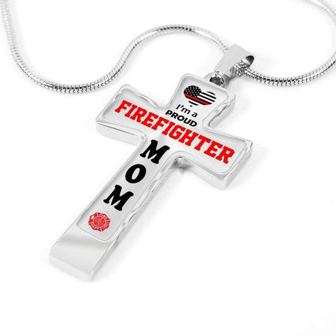 Image of I'm a Proud Firefighter Mom Cross - Light Luxury Necklace