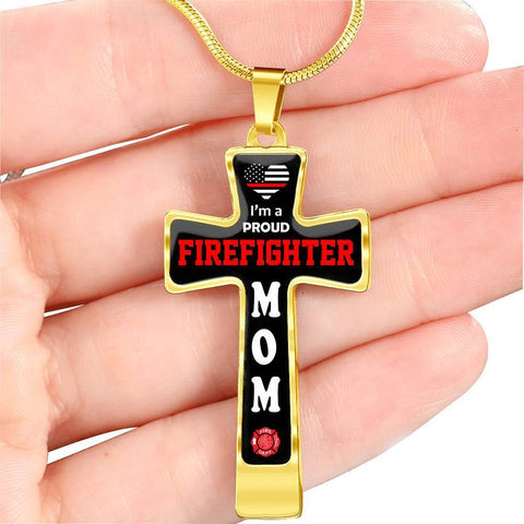 Image of I'm a Proud Firefighter Mom Cross - Luxury Necklace