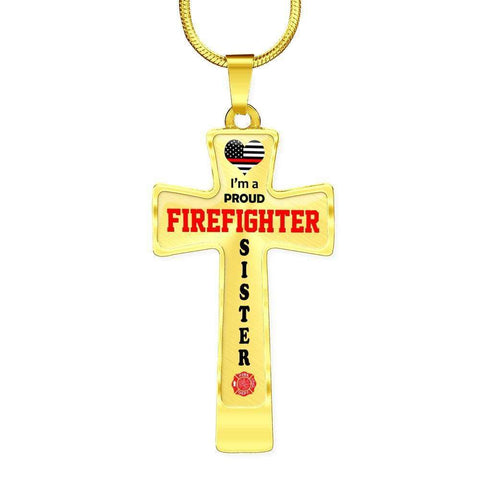 Image of I'm a Proud Firefighter Sister Cross - Light Luxury Necklace