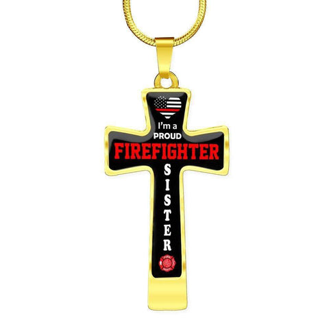 Image of I'm a Proud Firefighter Sister Cross - Luxury Necklace
