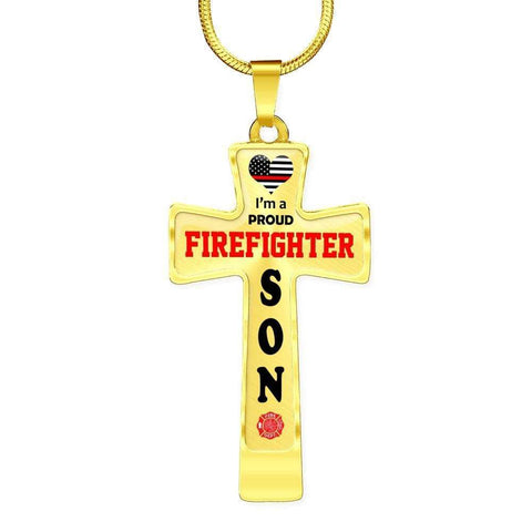 Image of I'm a Proud Firefighter Son Cross - Light Luxury Necklace