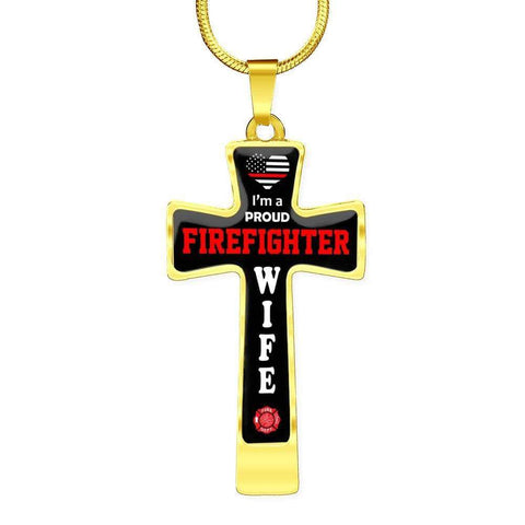Image of I'm a Proud Firefighter Wife Cross - Luxury Necklace