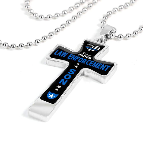 Image of I'm a Proud Law Enforcement - Military Ball Chain Police Son Cross